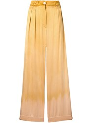 Raquel Allegra Keaton Satin Trousers Gold