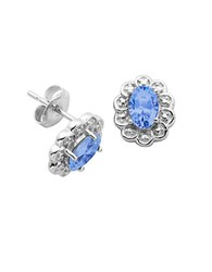 Lord And Taylor March Birthstone Sterling Silver Earrings Blue