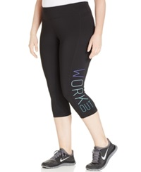 Ideology Plus Size Graphic Capri Leggings Classic Black