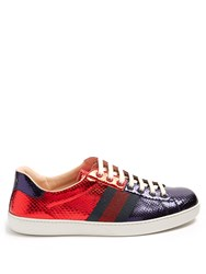 Gucci Bi Colour Snakeskin Trainers Red Multi