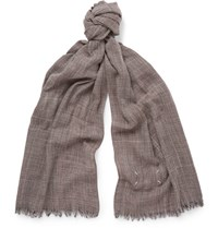 Maison Martin Margiela Checked Wool Scarf Brown