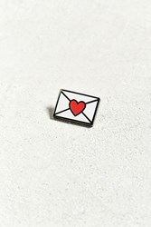 Urban Outfitters Envelope Heart Pin White