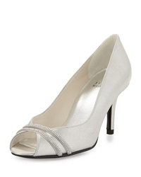 Stuart Weitzman Glohotwire Metallic Peep Toe Evening Pump Chrome