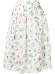Marc Cain Floral Print A Line Skirt White