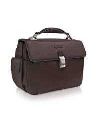 Piquadro Blue Square Leather Laptop Briefcase Dark Brown
