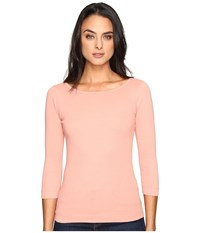 Three Dots 3 4 Sleeve British Tee Winter Rose Women's Long Sleeve Pullover Pink
