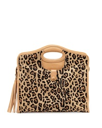 Cynthia Vincent Ally 3 Leopard Print Leather Tote Bag Tan