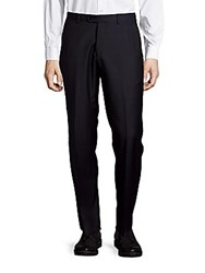 John Varvatos Astor Luxe Flat Front Wool Dress Pants Navy