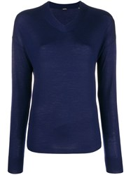 Aspesi Fine Knit V Neck Sweater Blue