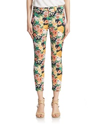 7 For All Mankind Floral Print Skinny Crop Pants Tropics Multi