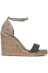 5e5ac1bdc Brunello Cucinelli Bead Embellished Suede Espadrille Wedge Sandals Black