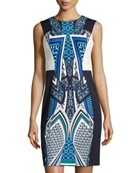 Muse Mirror Print Sleeveless Dress Blue Multi