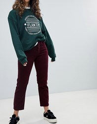 Pull And Bear Pullandbear Cord Mom Jean In Burgundy Red