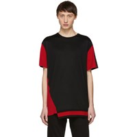 Alexander Mcqueen Black And Red Panelled T Shirt