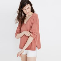 Madewell Double V Pullover Sweater Hthr Ice