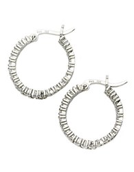 Lord And Taylor Sterling Silver Cubic Zirconia Hoop Earrings