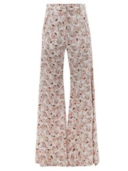 Adriana Degreas Aglio Print Silk Crepe De Chine Flared Trousers White Print