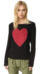 Wildfox Couture Sparkle Heart Baggy Beach Pullover Jet Black