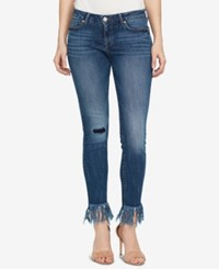 William Rast Colorblocked Embroidered Skinny Jeans Luke Blue