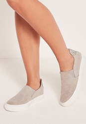 Missguided Glitter Tab Skater Pumps Grey