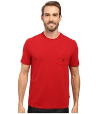 Nautica Short Sleeve Solid Anchor Pocket Tee Red Men's T Shirt