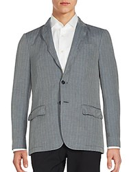 John Varvatos Striped Cotton And Linen Sportcoat Lake Blue