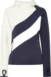 Tory Sport Shell Paneled Stretch Cotton Jersey Hooded Top Navy