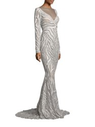 Berta Long Sleeve Beaded Gown Zebra Print