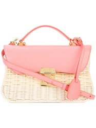 Mark Cross Structured Straw Bag Pink And Purple