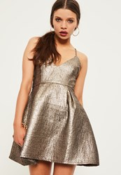 Missguided Petite Exclusive Gold Brocade Skater Dress