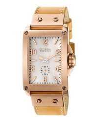 Brera 14K Rose Gold Ionic Plated Leather Rectangle Watch Bone