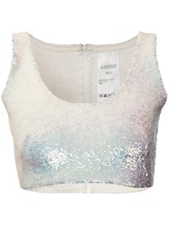 Ashish Sequin Crop Top Women Silk S White