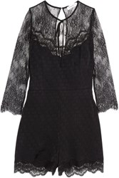 Sandro Karma Corded Lace And Polka Dot Jacquard Playsuit Black