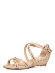 Evans Extra Wide Fit Rose Snake Strap Wedge Metallic