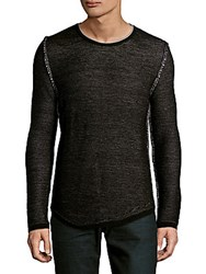 Ron Tomson Long Sleeve Wool Blend Pullover Black