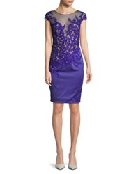 Mandalay Illusion And Floral Applique Sheath Dress Indigo
