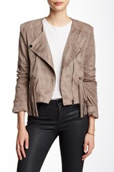 Fate Faux Suede Fringed Jacket Beige