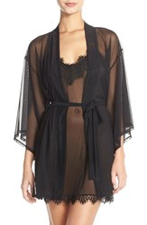 Women's Josie 'Slip Into One Happi Coat' Sheer Short Robe Black