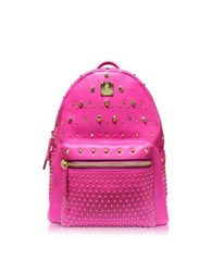 Mcm Electric Pink Leather Stark Special Small Backpack Flesh Pink