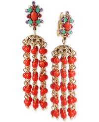 Betsey Johnson Gold Tone Beaded Chandelier Clip On Earrings Coral
