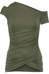 Bailey 44 Table Mountain One Shoulder Ruched Stretch Jersey Top Army Green