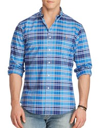 Polo Big And Tall Stretch Oxford Long Sleeve Plaid Shirt Blue