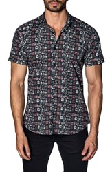 Jared Lang Trim Fit Sport Shirt Black Cameras