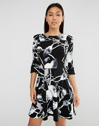 Club L Button Slevee Skater Dress In Mono Floral Print Black Print