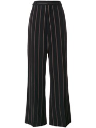 Chloe Pinstriped Wide Leg Trousers Silk Polyester Viscose Metallized Polyester Black