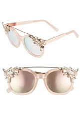 Leith 51Mm Crystal Embellished Square Sunglasses Pink Gold Pink Gold