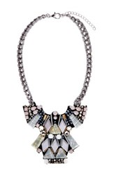 T J Designs Gray Resin Modern Stone Statement Necklace
