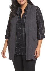 Foxcroft Plus Size Women's Jodi Longline Sweater Vest Charcoal
