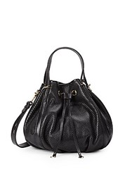 Rebecca Minkoff Military Perforated Leather Bucket Bag Black