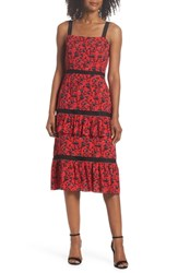 Adelyn Rae Isabel Tiered Ruffle Midi Dress Red Black